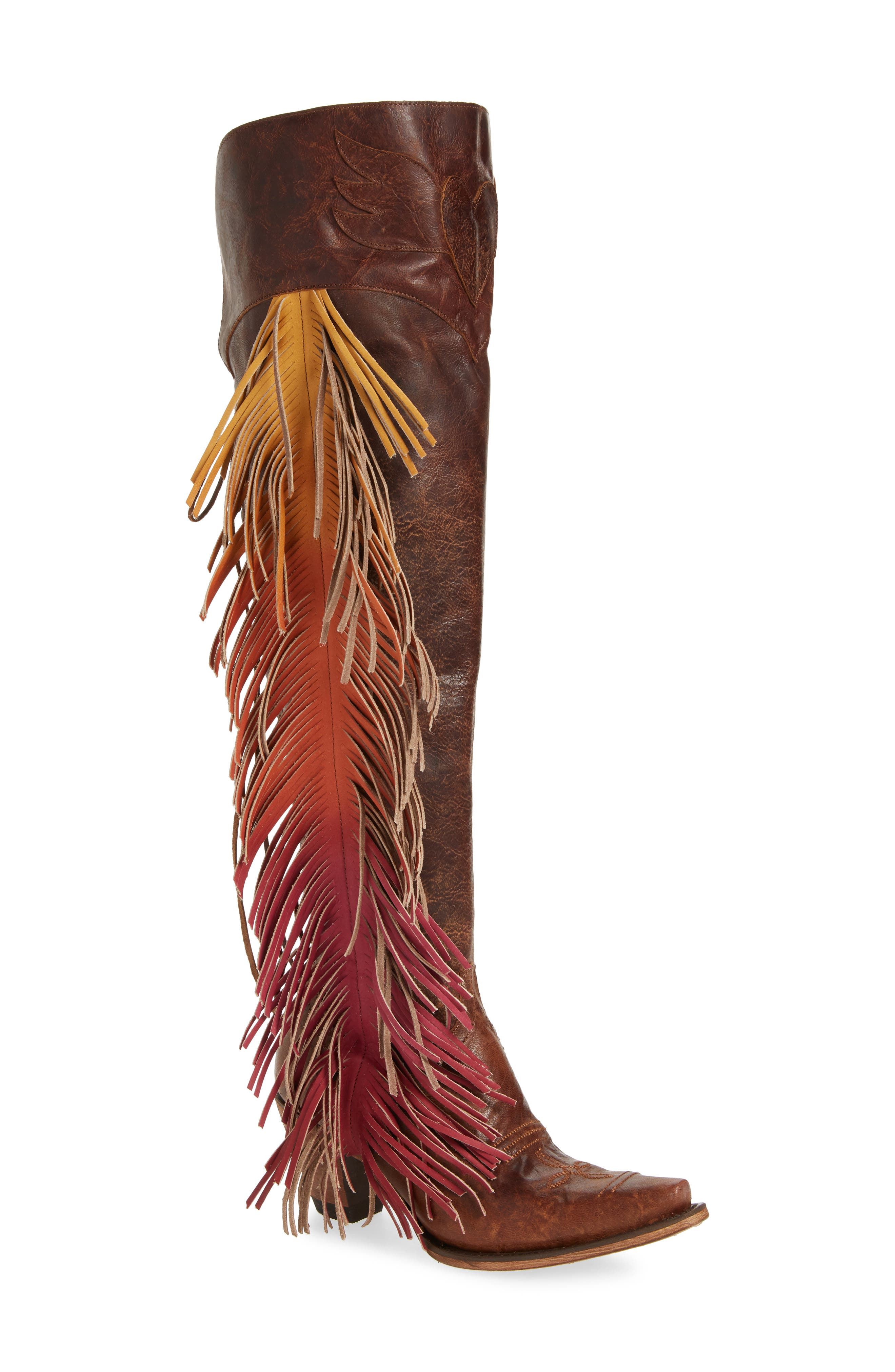 Vintage Boots, Granny Boots, Retro Boots Womens Lane Boots X Junk Gypsy Fringe Over The Knee Western Boot Size 6.5 M - Brown $315.96 AT vintagedancer.com