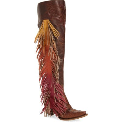 Lane Boots X Junk Gypsy Fringe Over The Knee Western Boot- Brown