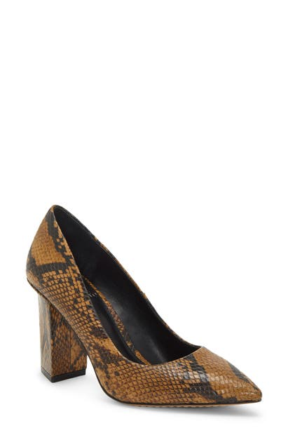 Vince Camuto Candera Pointed Toe Pump In Smokey Brown Leather
