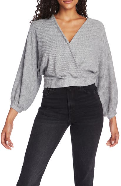 1.state Sweaters FAUX WRAP SWEATER