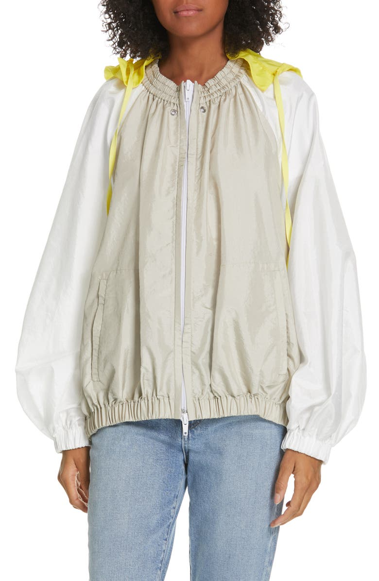 TIBI Contrast Sleeve Jacket with Detachable Hood, Main, color, 020