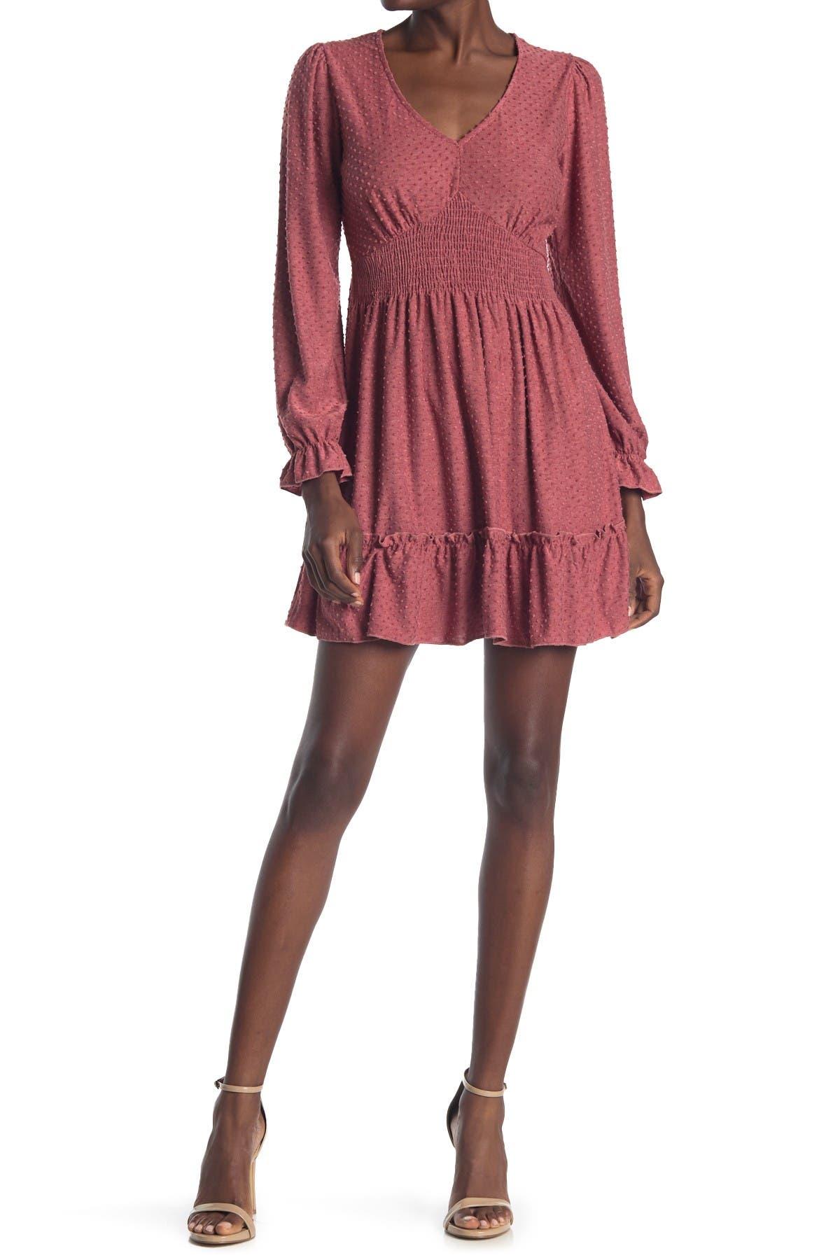 Image of KENEDIK Knit Clip Dot Smocked Waist Dress