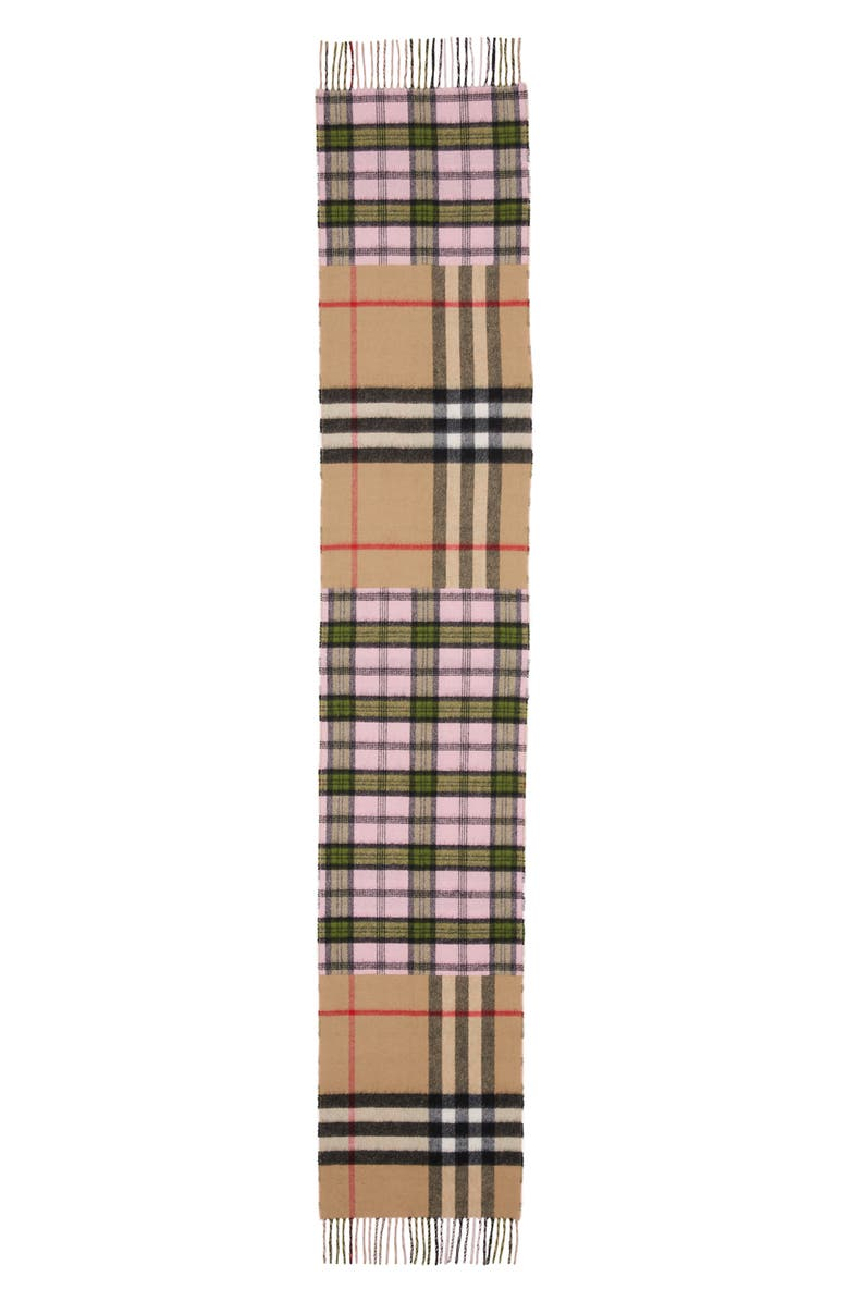 BURBERRY Found Check & Giant Check Cashmere & Merino Wool Scarf, Main, color, CANDY PINK
