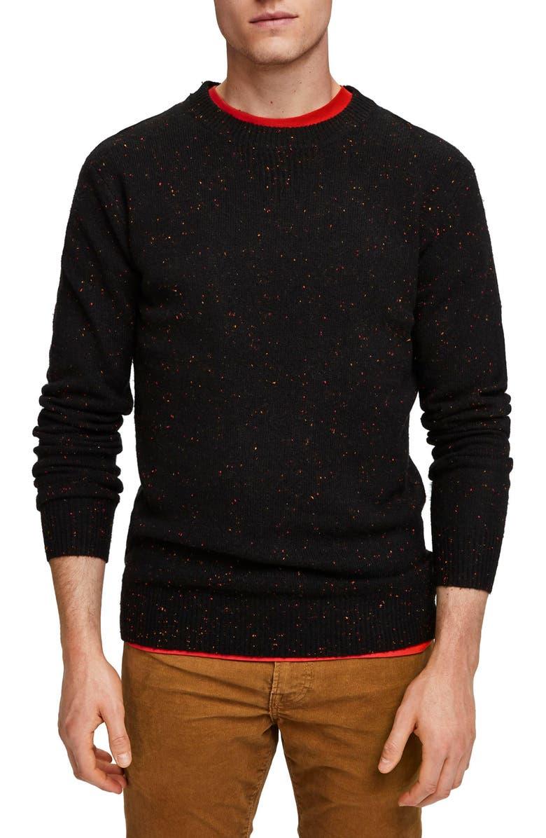 SCOTCH & SODA Speckle Crewneck Sweater, Main, color, BLACK