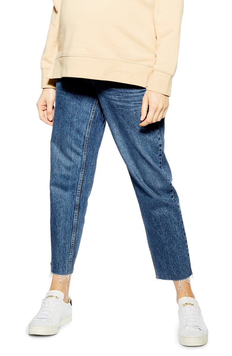 TOPSHOP Over the Bump Straight Leg Crop Maternity Jeans, Main, color, MID DENIM