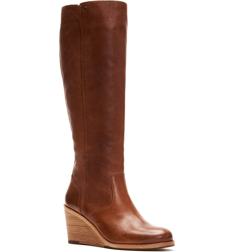 FRYE Emma Knee High Wedge Boot, Main, color, TAN LEATHER
