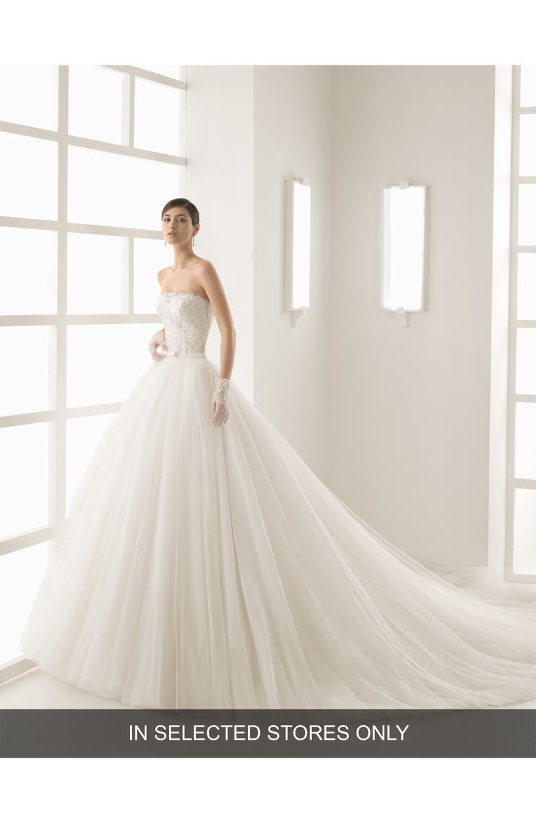 ROSA CLARÁ Olsen Beaded Lace & Tulle Strapless Gown, Main, color, NATURAL