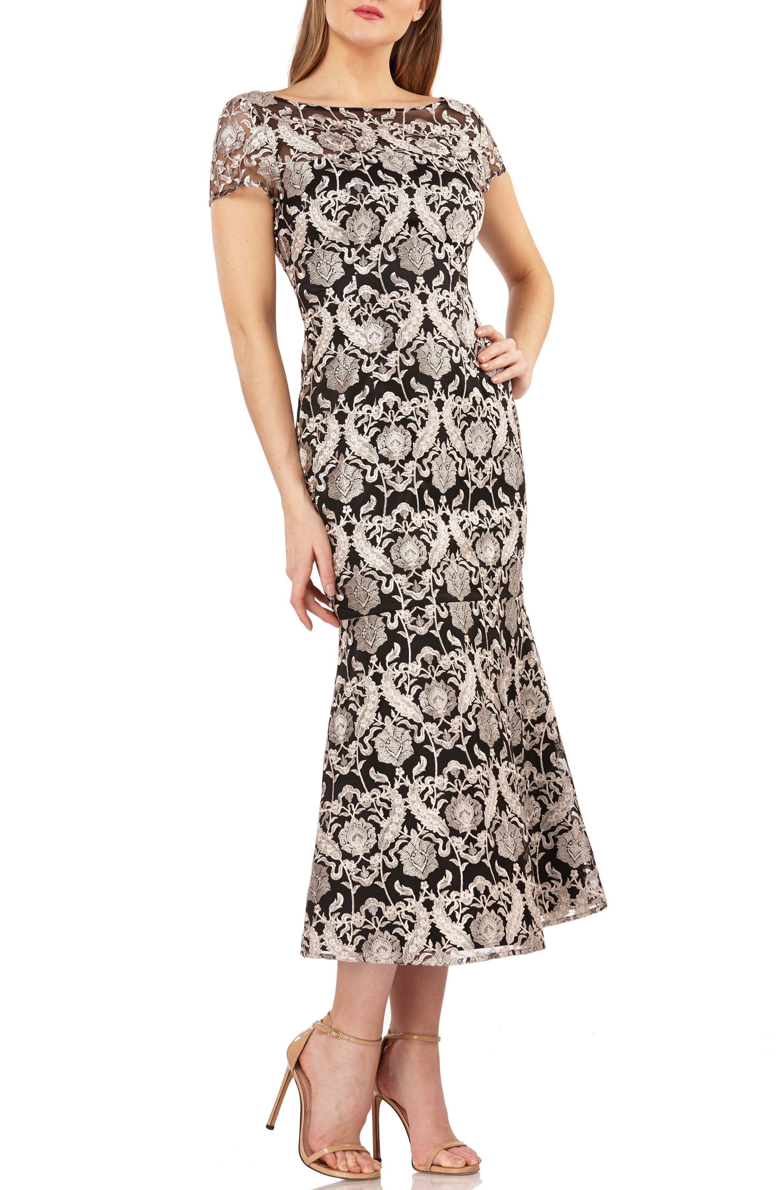 Js Collections Embroidered Midi Dress, Black