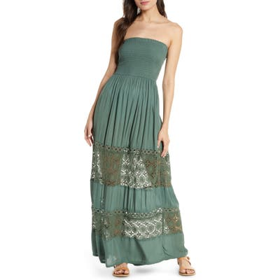 Chelsea28 Farrah Smocked Cover-Up Maxi Dress, Green