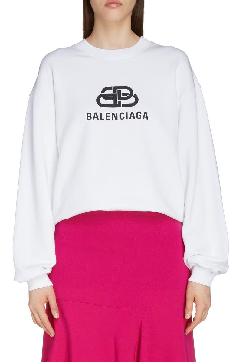 BALENCIAGA Interlocking BB Logo Sweatshirt, Main, color, OFF WHITE