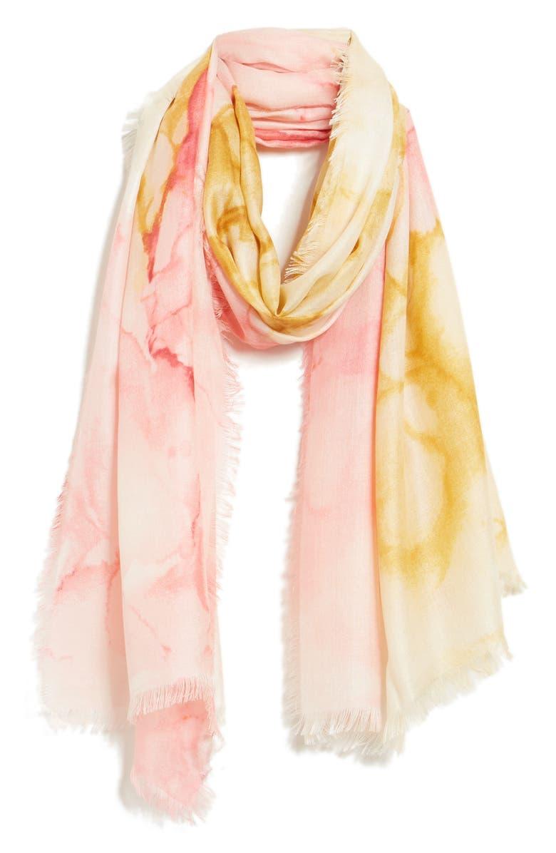 NORDSTROM Eyelash Trim Print Cashmere & Silk Wrap, Main, color, PINK MAY BOUQUET PRINT