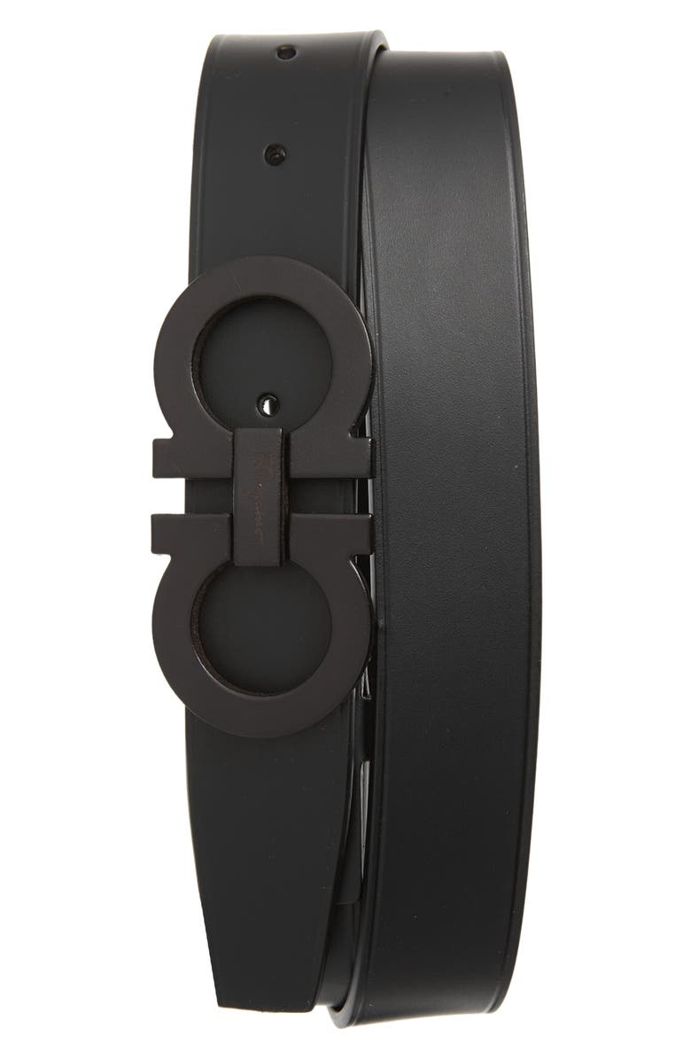 SALVATORE FERRAGAMO Leather Belt, Main, color, 001