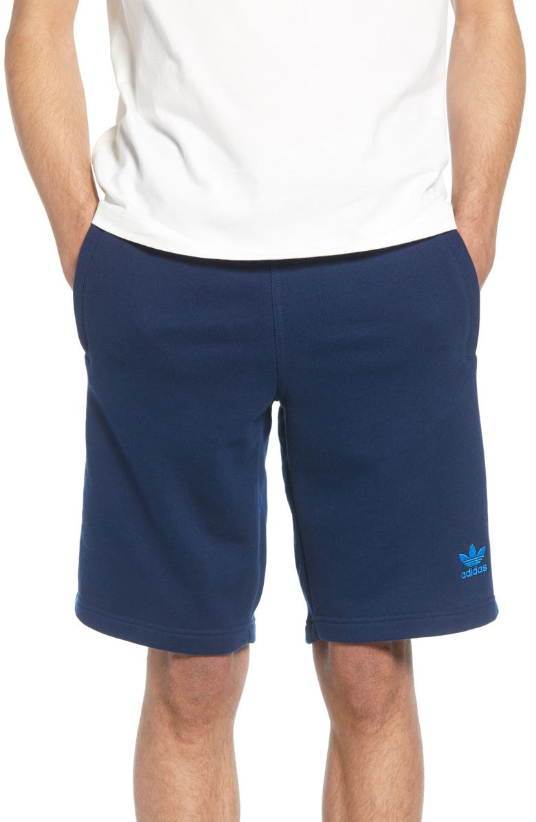 ADIDAS ORIGINALS 3-Stripes Athletic Shorts, Main, color, COLLEGIATE NAVY/ BLUEBIRD