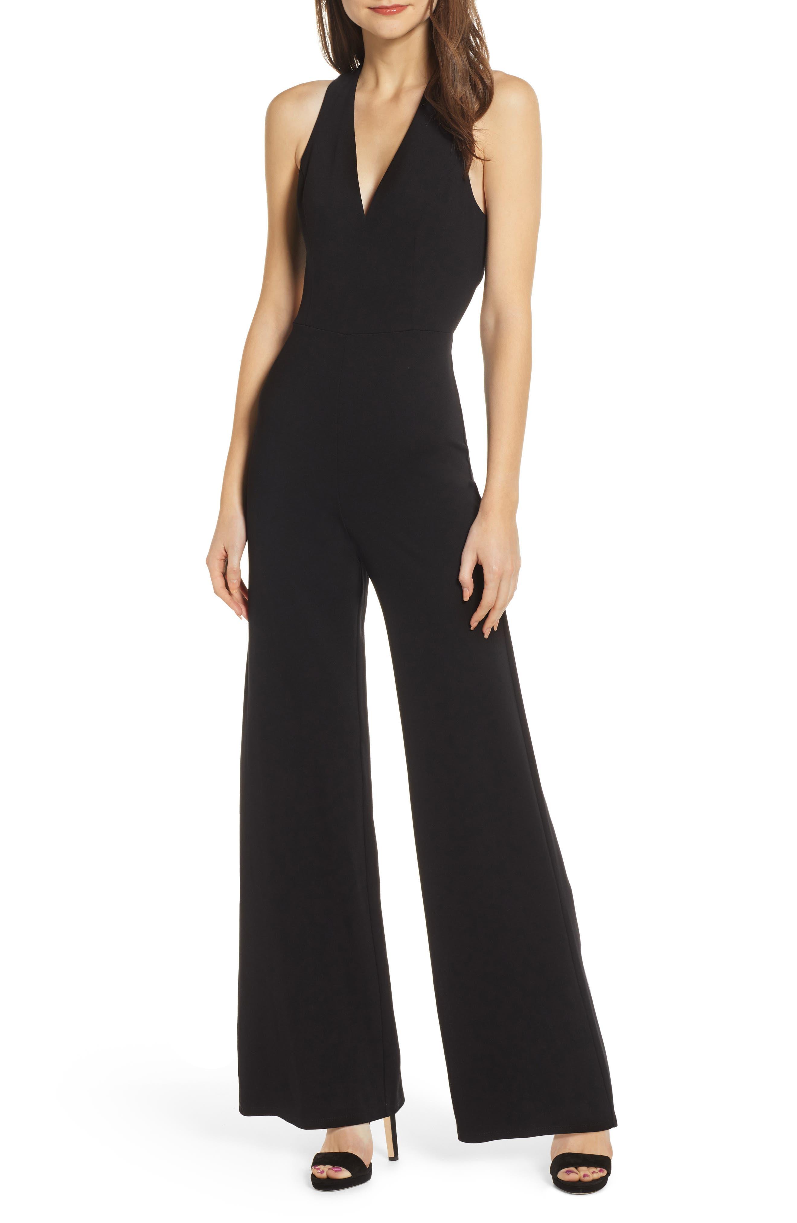 Crossback Jumpsuit, Main, color, BLACK