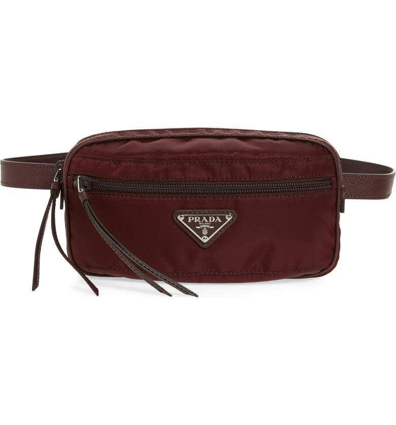 PRADA Small Nylon Belt Bag, Main, color, BORDEAUX