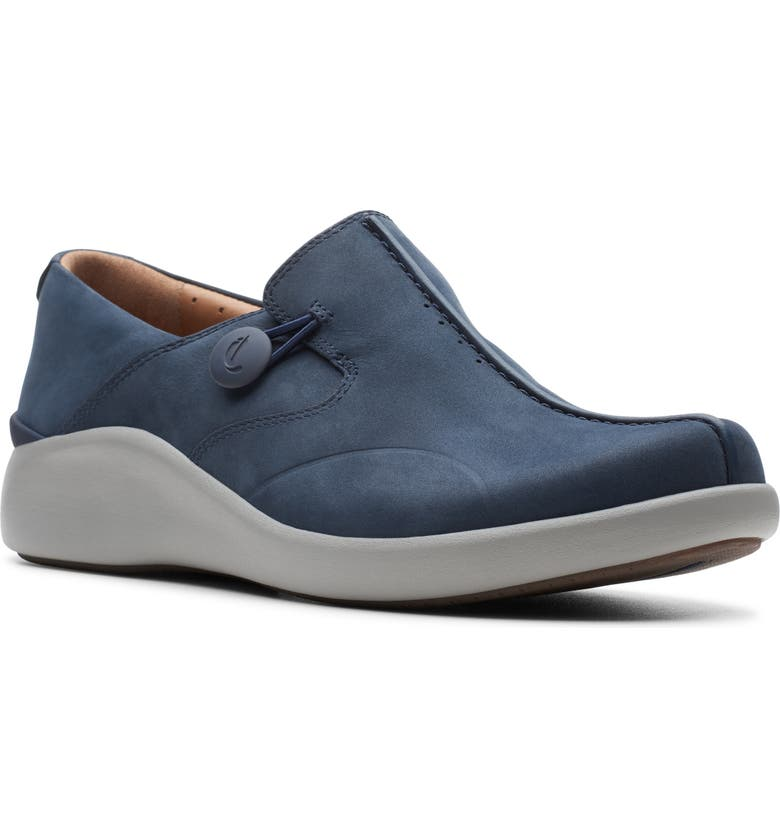 CLARKS<SUP>®</SUP> Un Loop 2 Walk Flat, Main, color, NAVY NUBUCK LEATHER