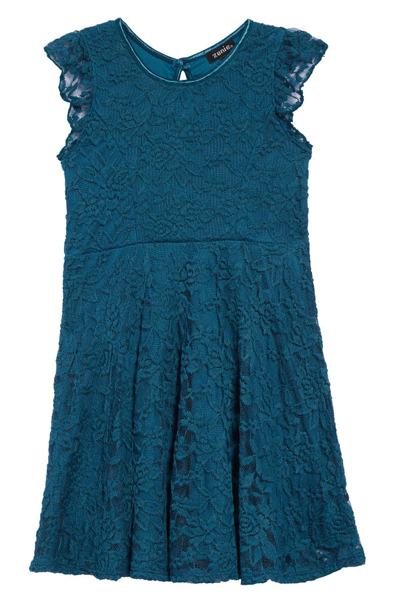 ZUNIE Ruffle Lace Skater Dress, Main, color, TEAL