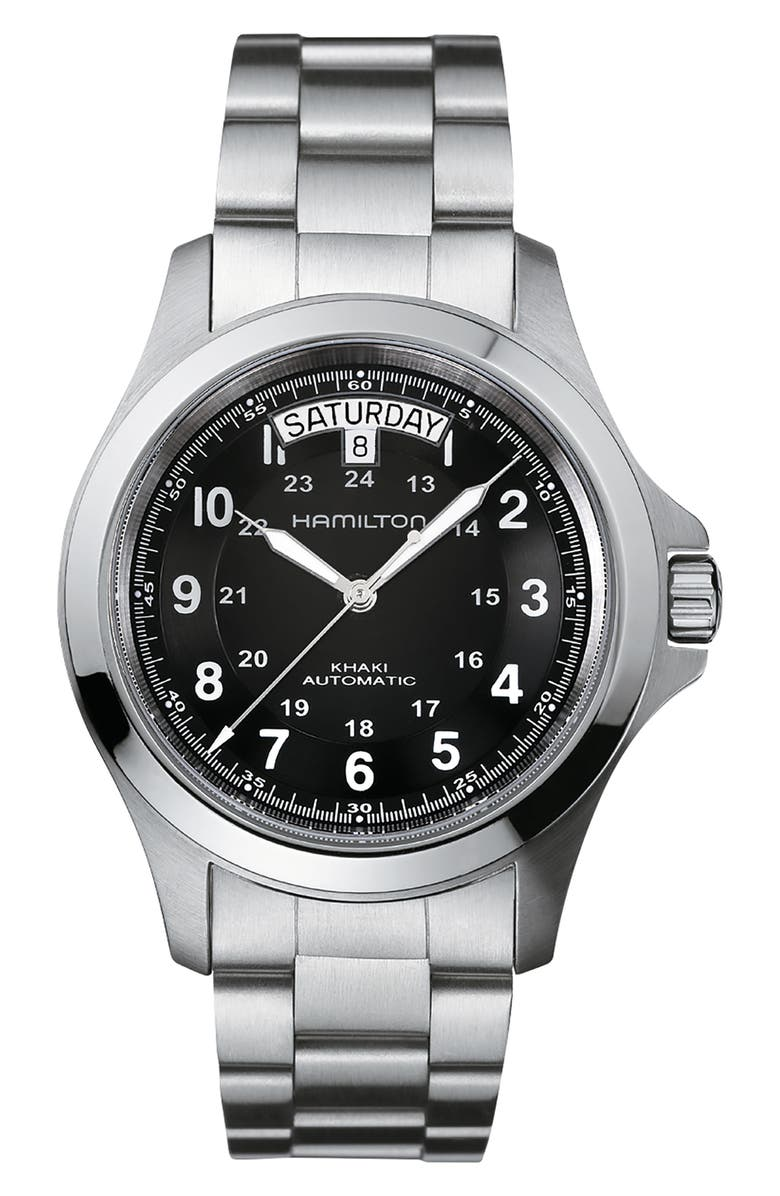 HAMILTON Khaki Field King Automatic Bracelet Watch, 40mm, Main, color, SILVER/ BLACK/ SILVER