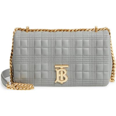 Burberry Small Lola Tb Quilted Leather Shoulder Bag - Grey