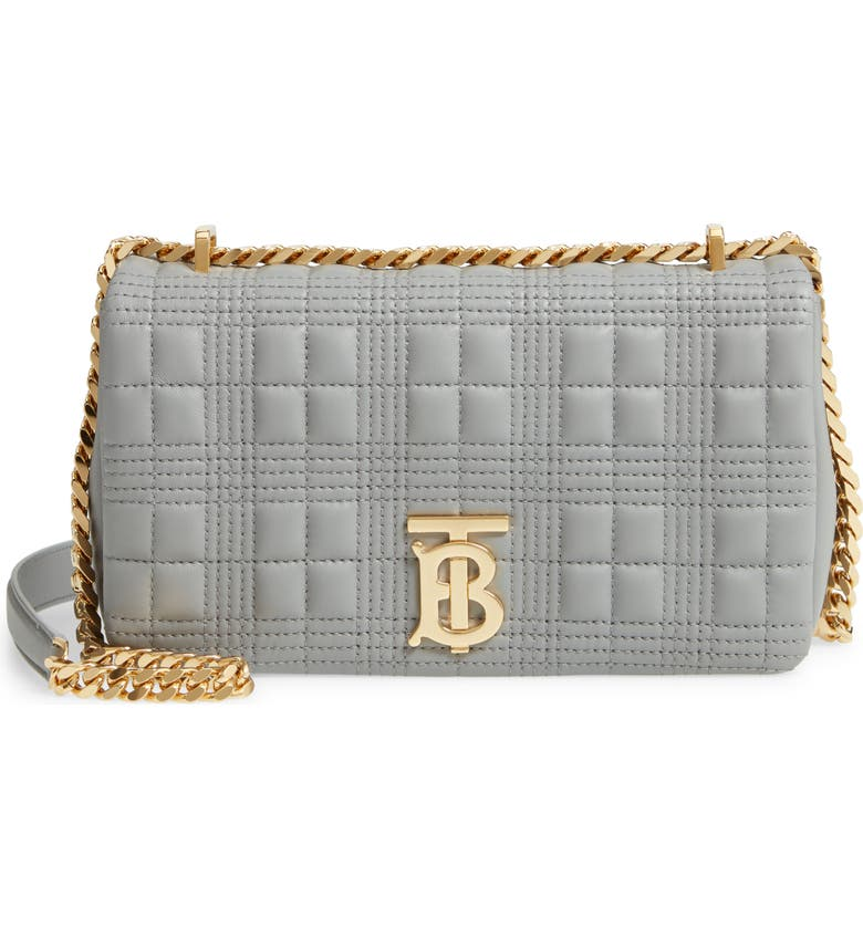 BURBERRY Small Lola TB Quilted Leather Shoulder Bag, Main, color, CLOUD GREY
