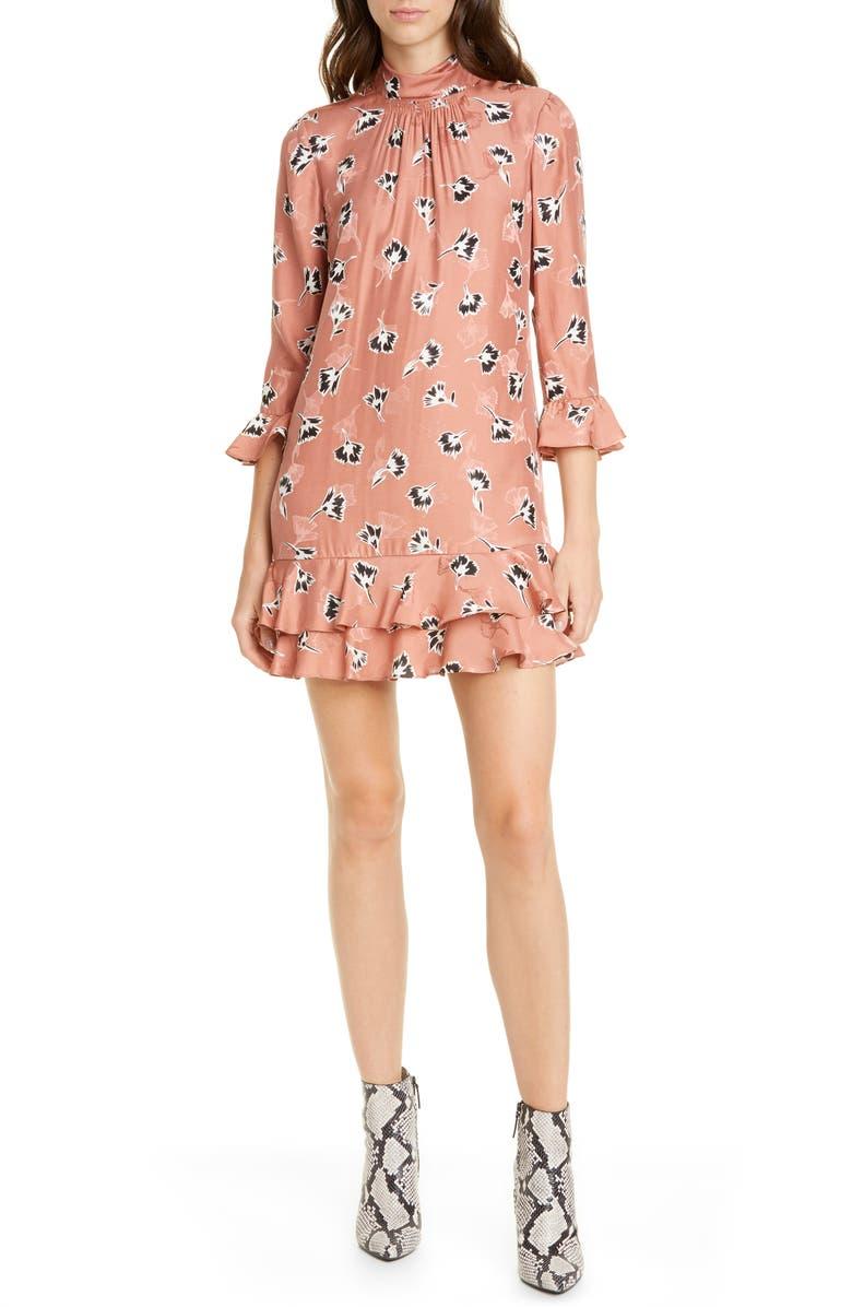 REBECCA TAYLOR Paintbrush Floral Ruffle Detail Silk Blend Shift Dress, Main, color, BLUSH COMBO