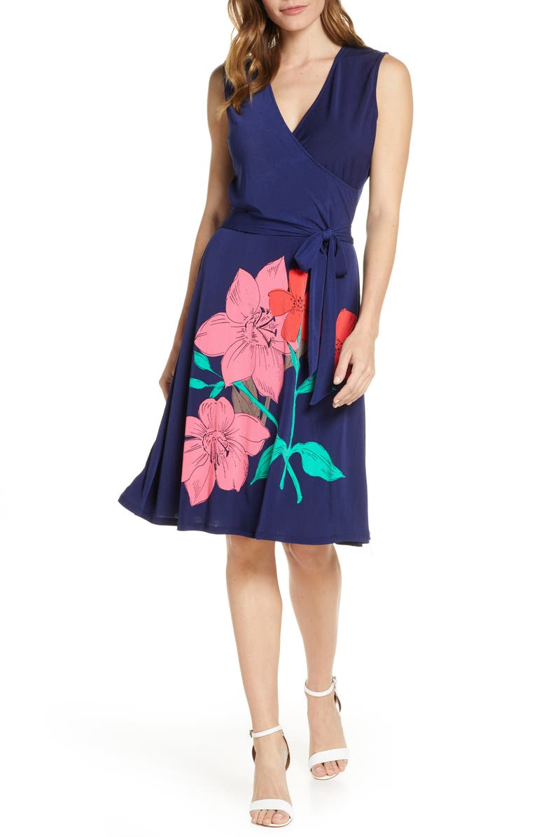 LEOTA Floral Faux Wrap Dress, Main, color, ISLAND FLORAL
