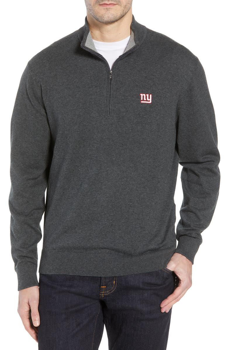 CUTTER & BUCK New York Giants - Lakemont Regular Fit Quarter Zip Sweater, Main, color, CHARCOAL HEATHER