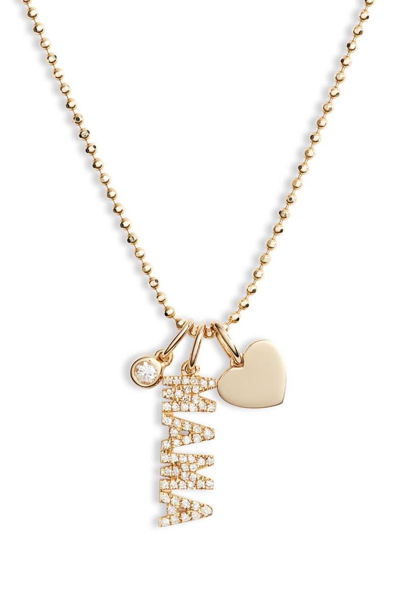 EF COLLECTION Diamond Mama Charm Necklace, Main, color, YELLOW GOLD/ DIAMOND