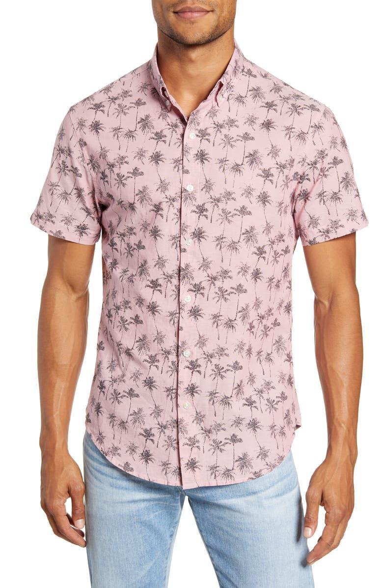 BONOBOS Riviera Slim Fit Print Shirt, Main, color, DRESSY PALM SHADOW