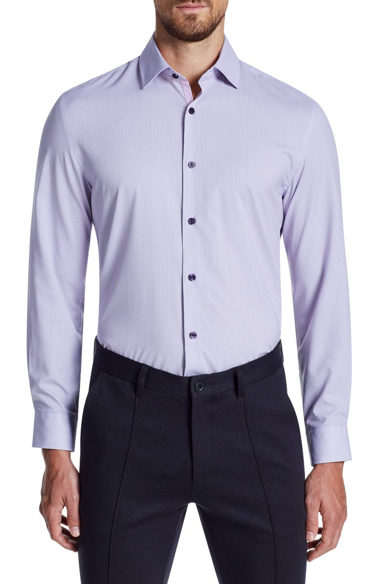 W.R.K Trim Fit Performance Stretch Geometric Dress Shirt, Main, color, LILAC