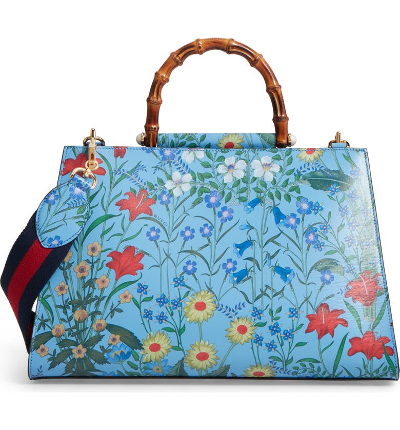 676a28491 Large Nymphaea New Flora Print Leather Top Handle Tote, Main, color, 493