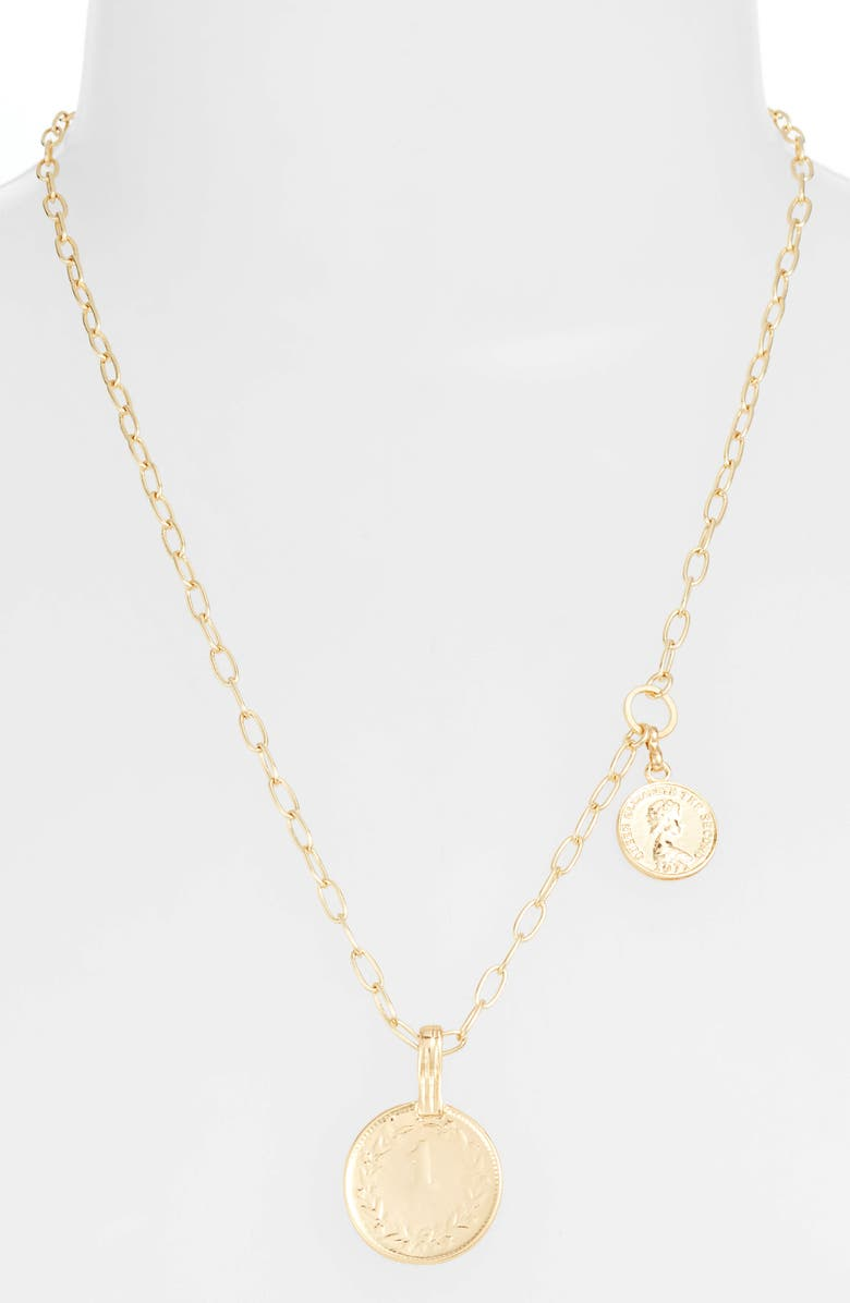 ETTIKA Double Coin Pendant Necklace, Main, color, GOLD