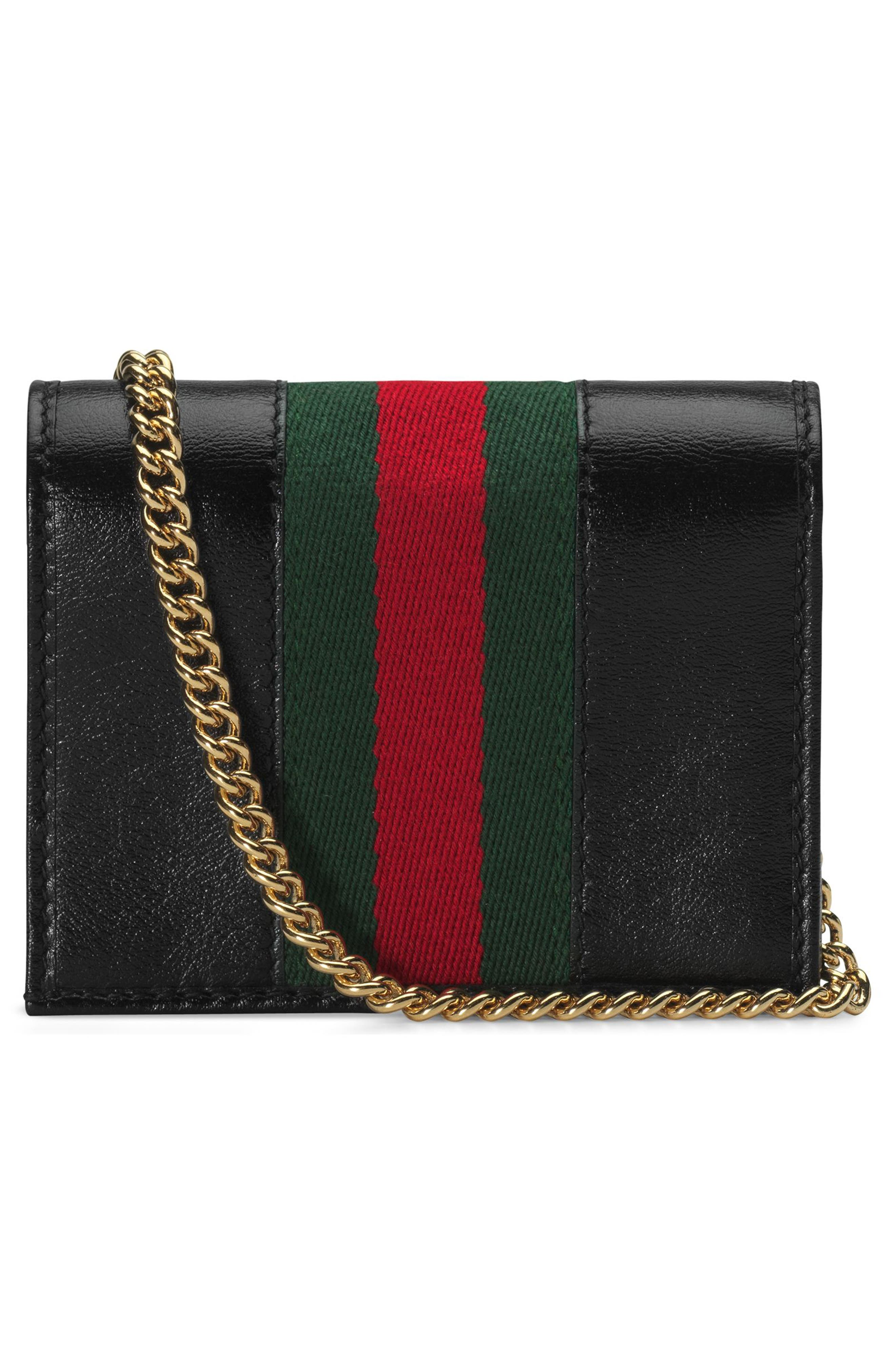 ,                             Rajah Calfskin Leather Card Case on a Chain,                             Alternate thumbnail 3, color,                             NERO/ VERT RED MULTI