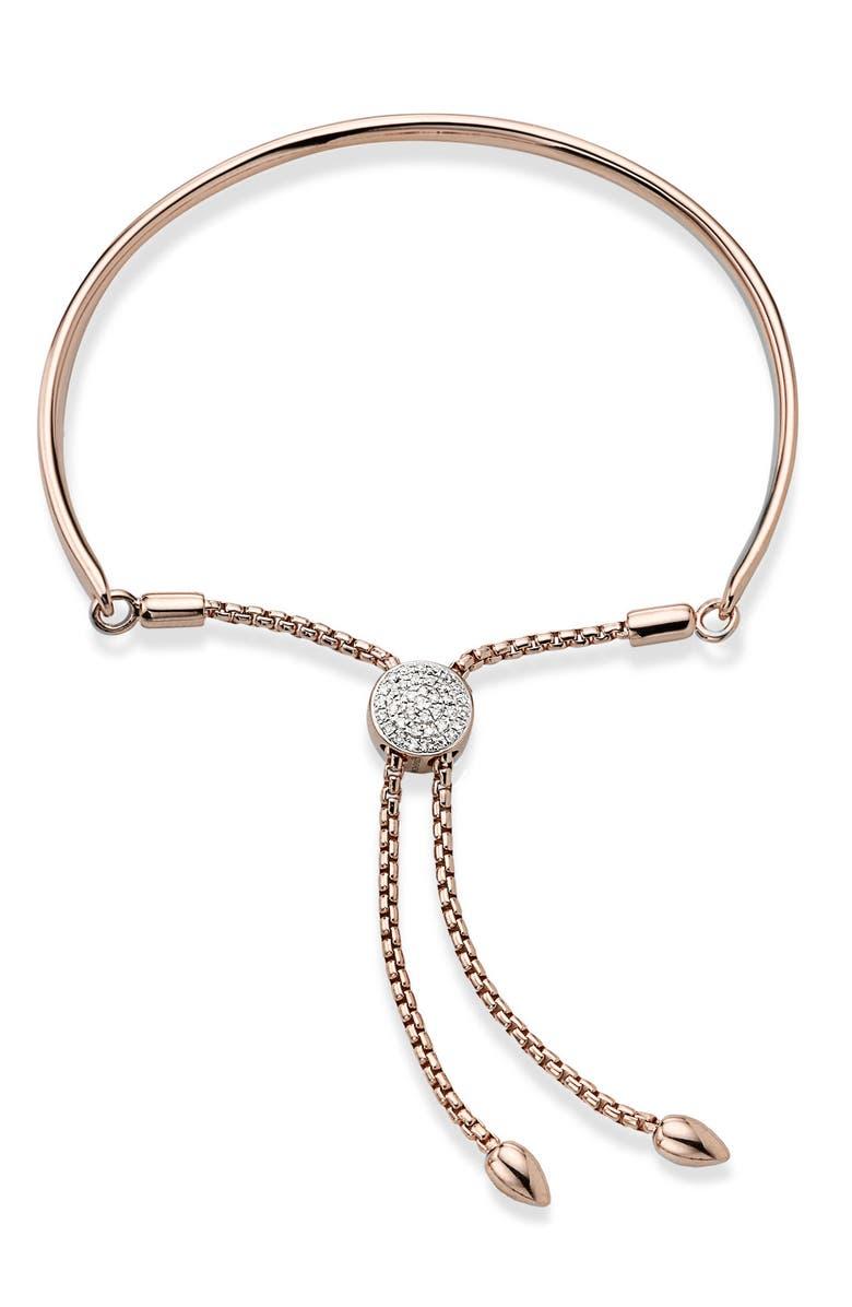 MONICA VINADER Engravable Fiji Diamond Toggle Bracelet, Main, color, ROSE GOLD/ DIAMOND