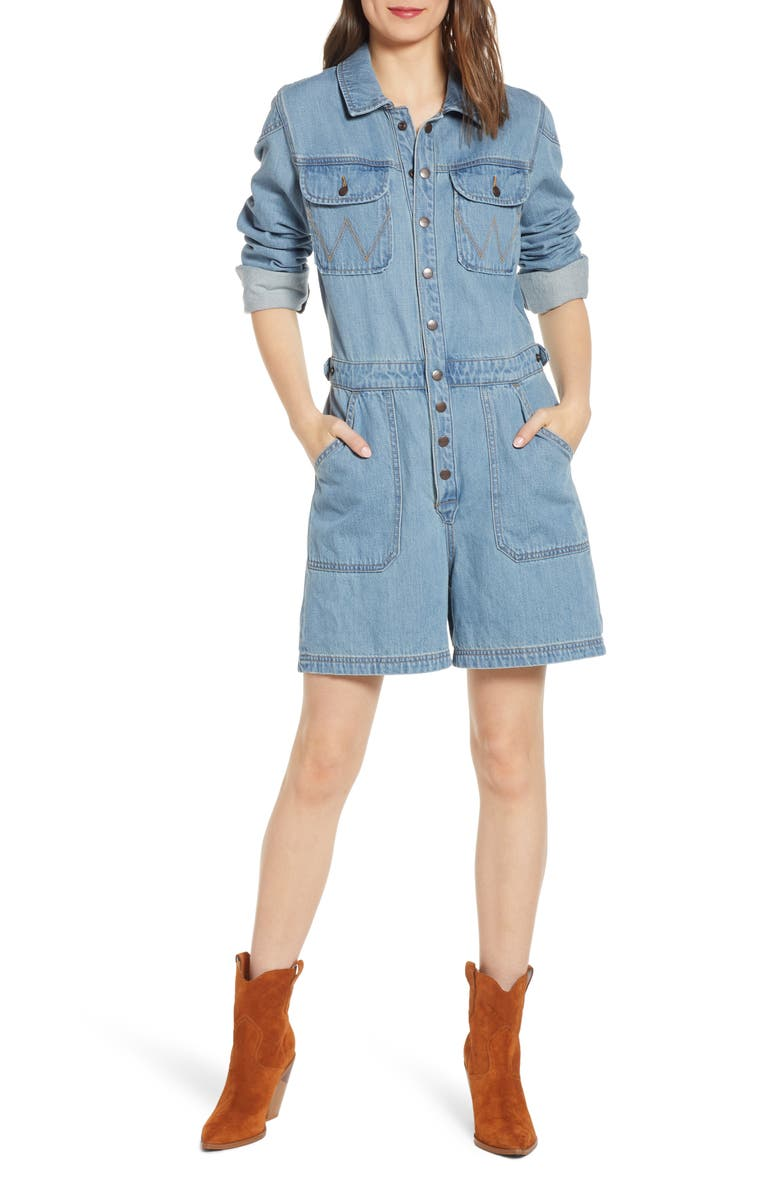 WRANGLER Denim Romper, Main, color, CROSBY