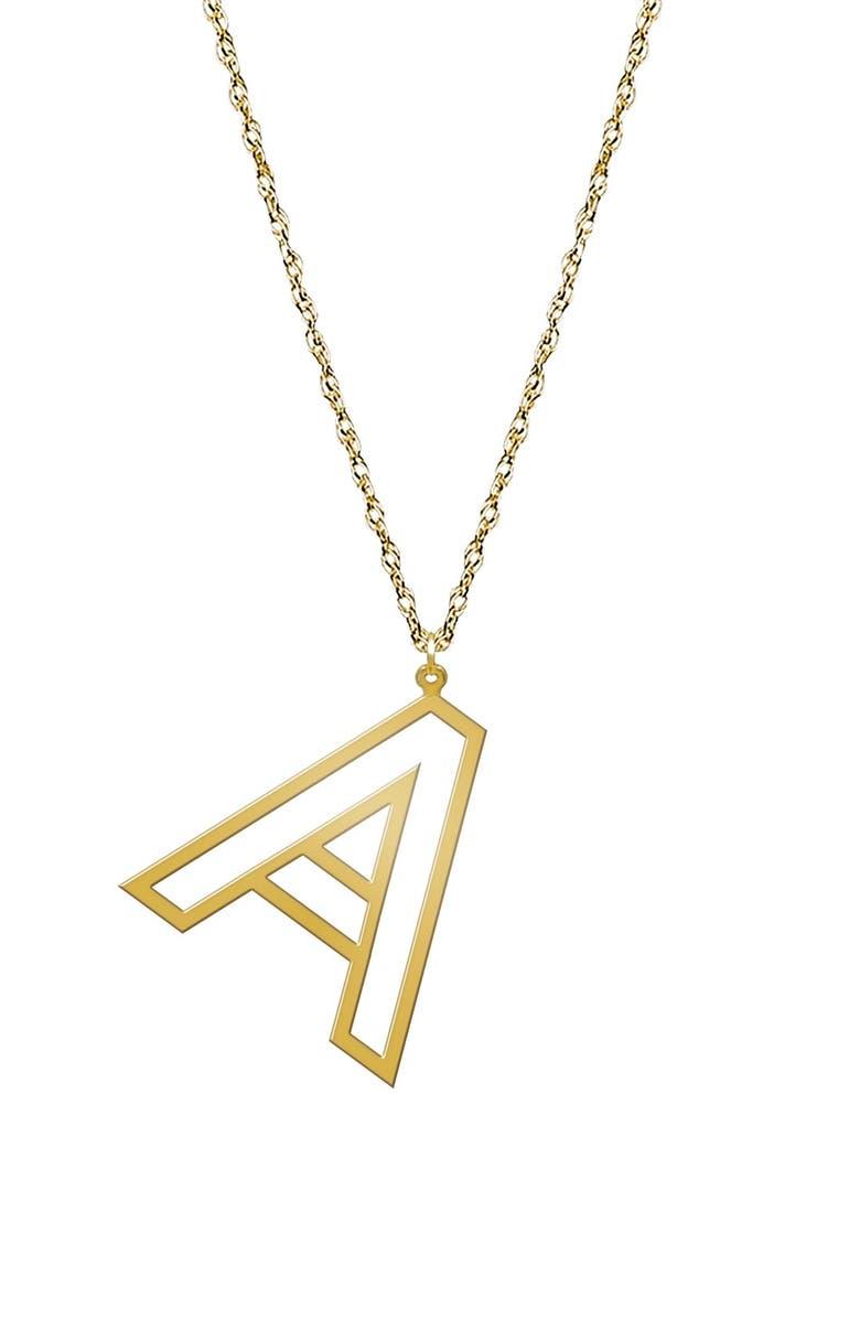 JANE BASCH DESIGNS Varsity Initial Pendant Necklace, Main, color, GOLD - A