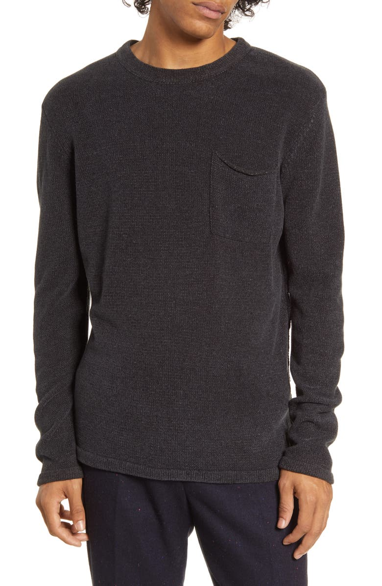SCOTCH & SODA Chenille Pocket Crewneck Sweater, Main, color, CHARCOAL