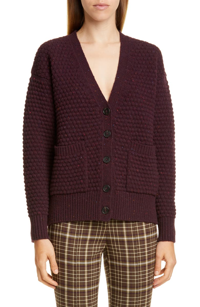ADAM LIPPES Marled Wool & Cashmere Crop Cardigan, Main, color, BURGUNDY