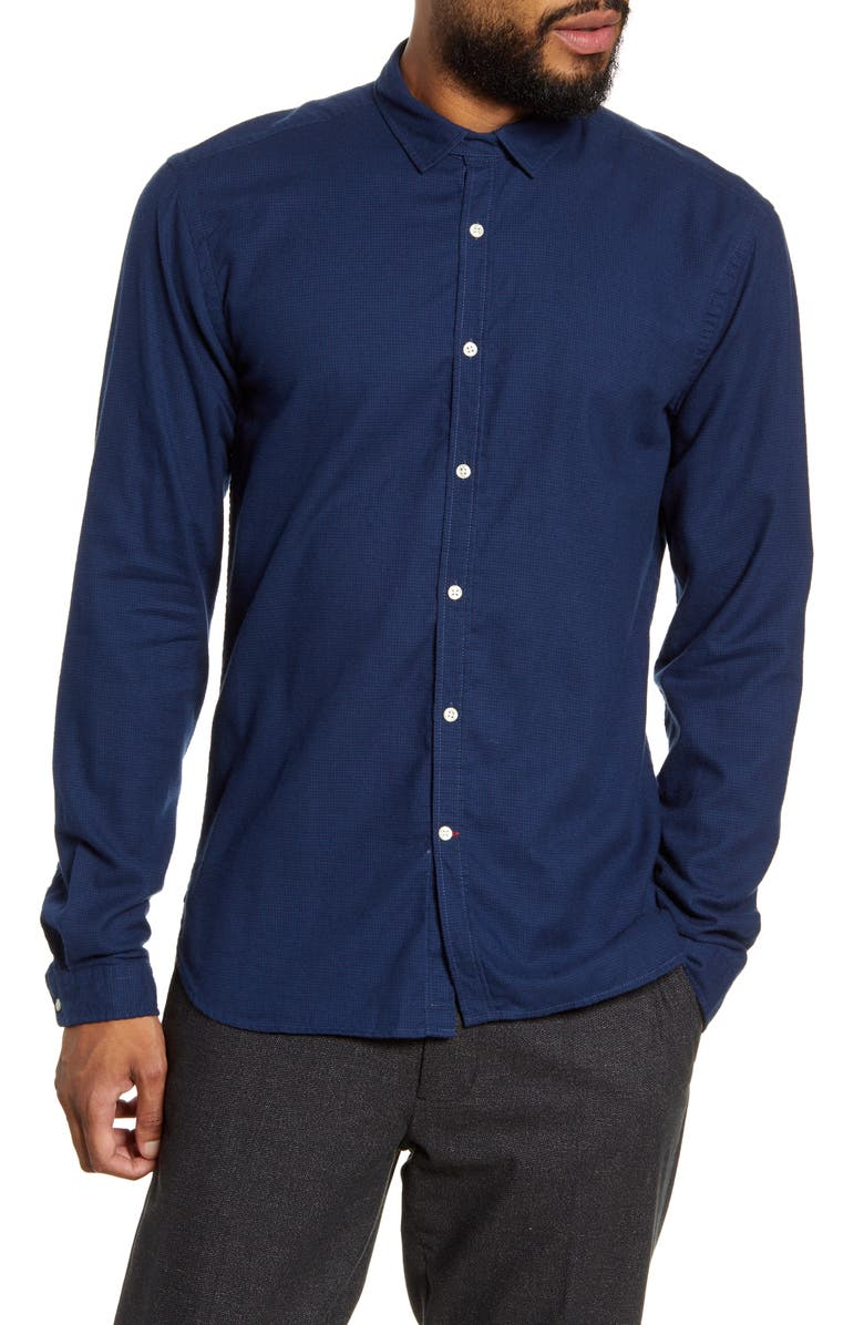 OLIVER SPENCER Clerkenwell Slim Fit Organic Cotton Button-Up Shirt, Main, color, PIPPEN NAVY