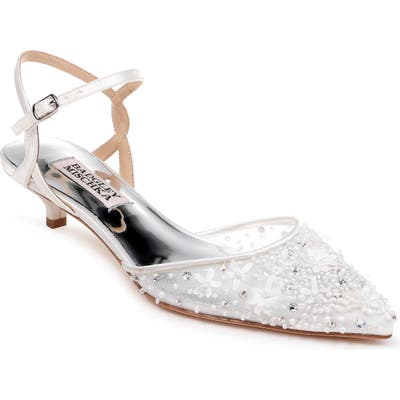 Badgley Mischka Iris Kitten Heel Slingback Pump, White