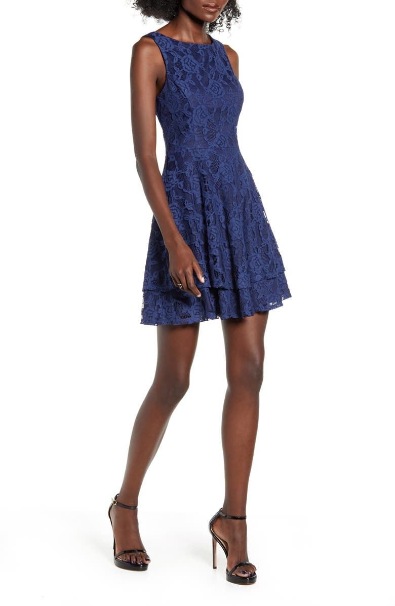 SPEECHLESS All Lace Tiered Hem Fit & Flare Dress, Main, color, NAVY