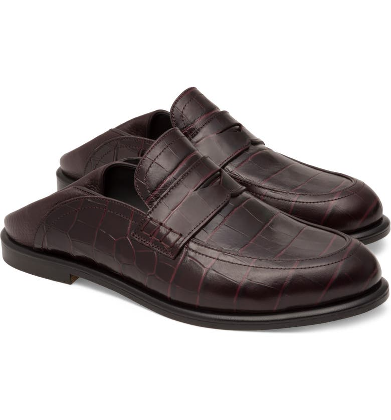 LOEWE Convertible Loafer, Main, color, BURGUNDY EMBOSSED LEATHER