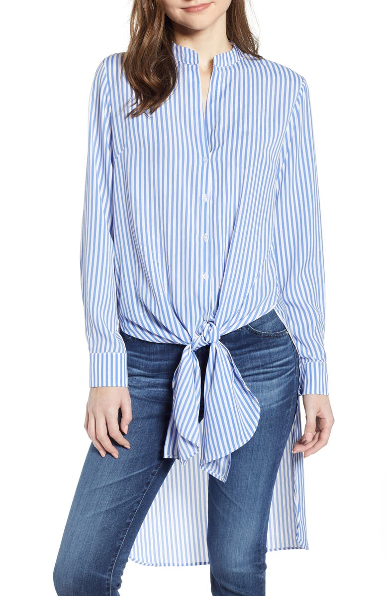 BISHOP + YOUNG Devin Front Tie Tunic, Main, color, BLUE STRIPE