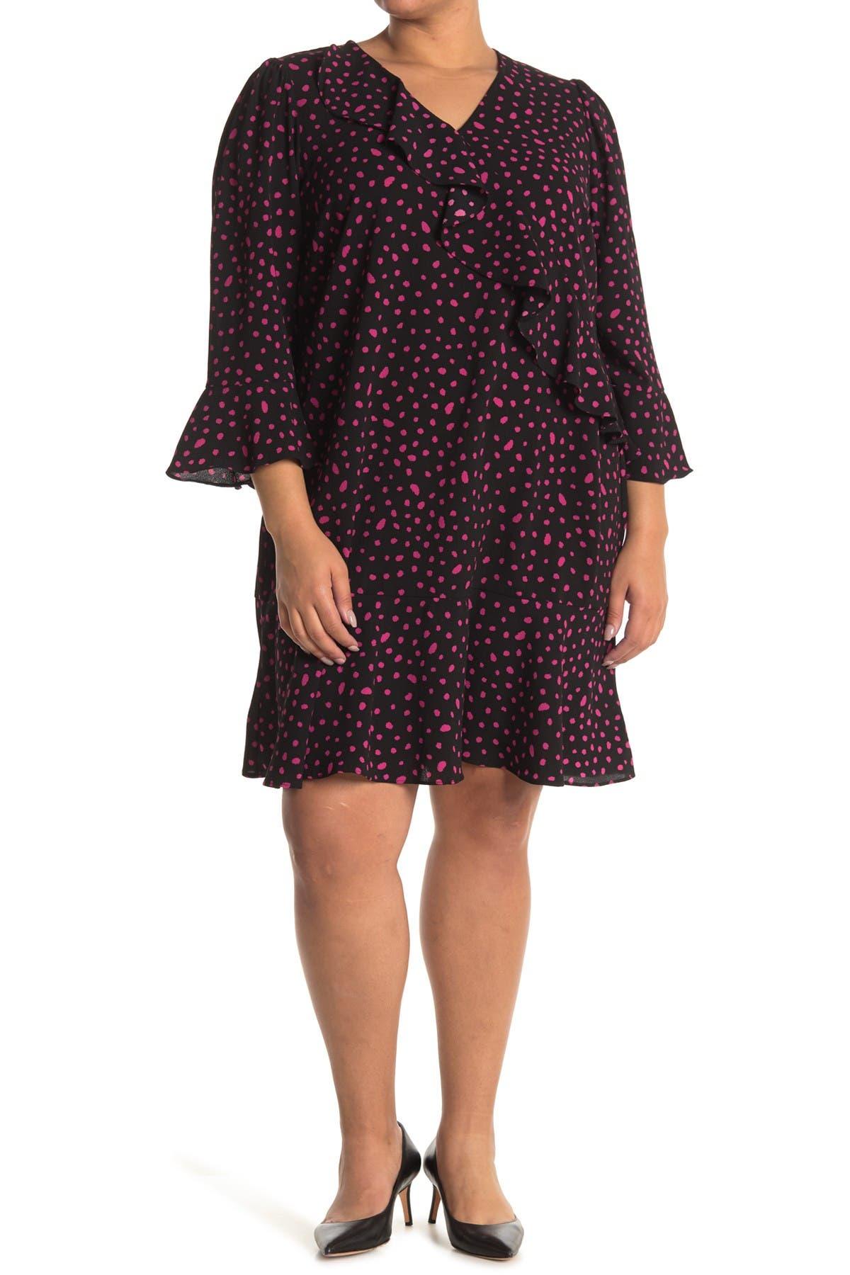 Image of London Times Confetti Dot Ruffle Dress