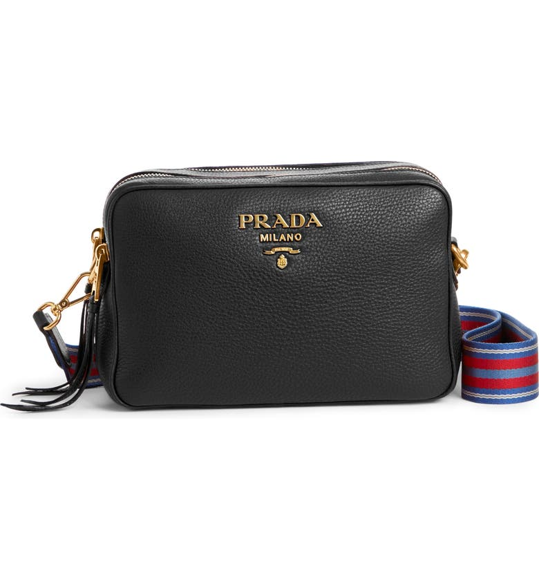 PRADA Vitello Daino Leather Camera Bag, Main, color, 001