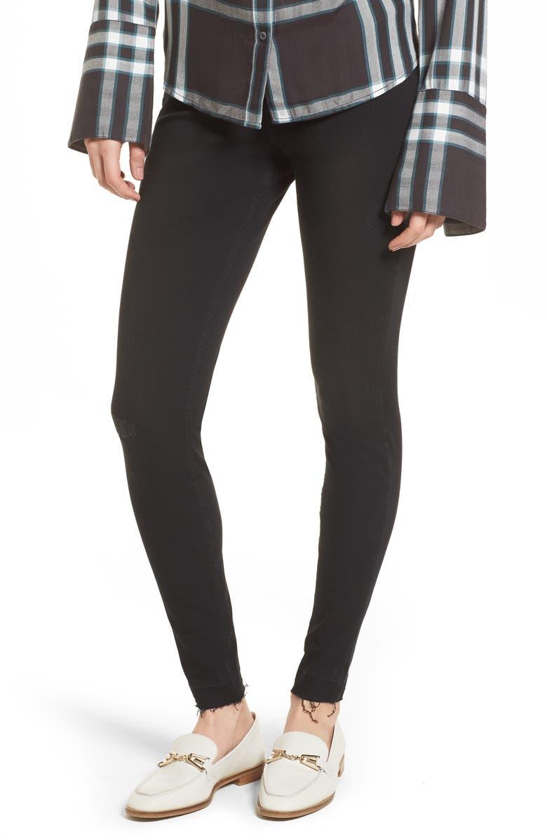 HUE Selvedge Edge Denim Leggings, Main, color, Black
