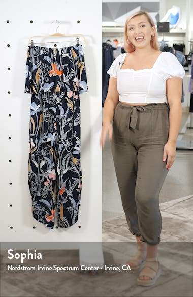 Floral Print Strapless Crop Jumpsuit, sales video thumbnail