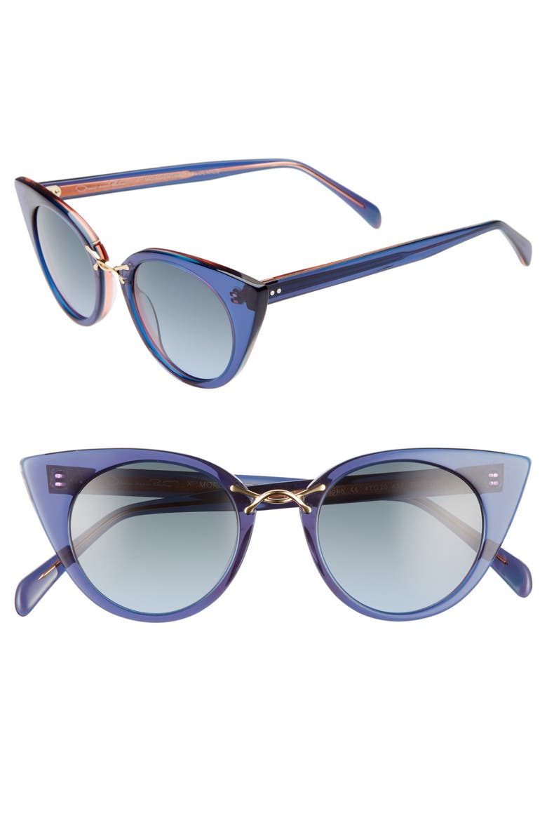 OSCAR DE LA RENTA X MORGENTHAL FREDERICS Twist III 47mm Gradient Cat Eye Sunglasses, Main, color, NAVY/ GREY BLUE