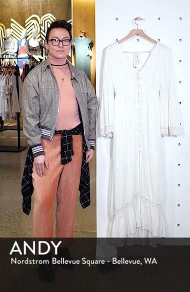 Baja Lace Trim Long Sleeve Maxi Dress, sales video thumbnail