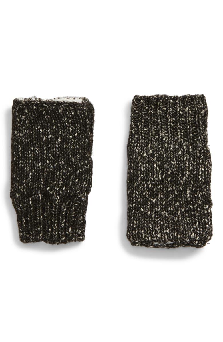 TREASURE & BOND Fleece Lined Fingerless Gloves, Main, color, BLACK